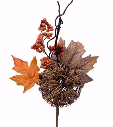 """Picture of Fall Theme 16"""" Pumpkin Berry Maple Leaves Pick"""