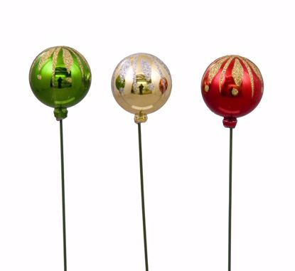 """Picture of Holiday Glitter Ball Pick  (13.75"""", 4 Assorted)"""