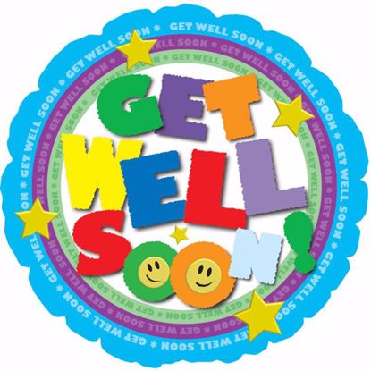 "Picture of 17"" 2-Sided Foil Balloon: Get Well Colorful Type"