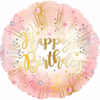 """Picture of 17"""" 2-Sided Foil Balloon: Happy Birthday Rose Gold"""