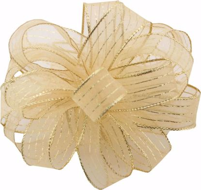 Picture of #3 Striped Chiffon Ribbon - Gold On Gold