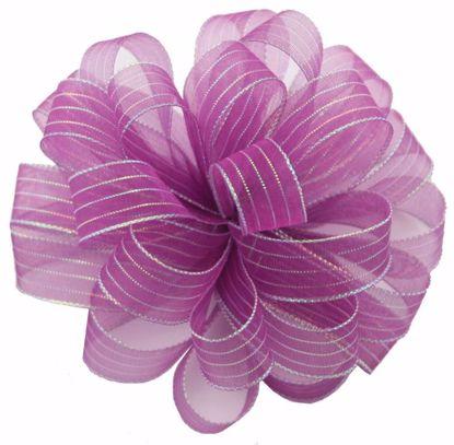 Picture of #3 Striped Chiffon Ribbon - Purple