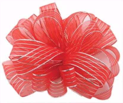 Picture of #3 Striped Chiffon Ribbon - Red