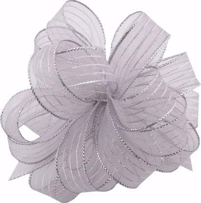 Picture of #3 Striped Chiffon Ribbon - Silver