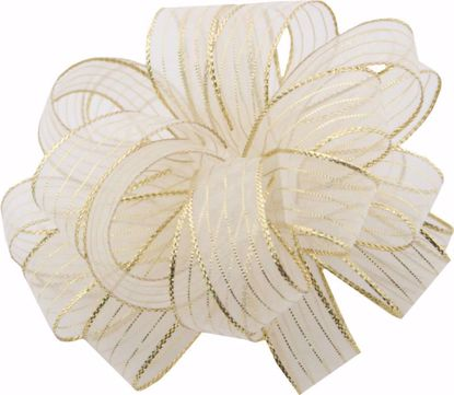 Picture of #3 Striped Chiffon Ribbon - White Gold