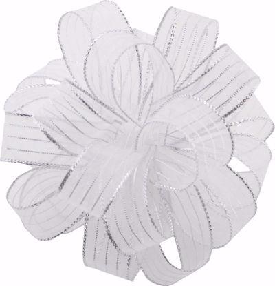 Picture of #3 Striped Chiffon Ribbon - White Silver