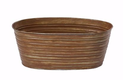 """Picture of 10"""" Oval Tin Pot Rust"""