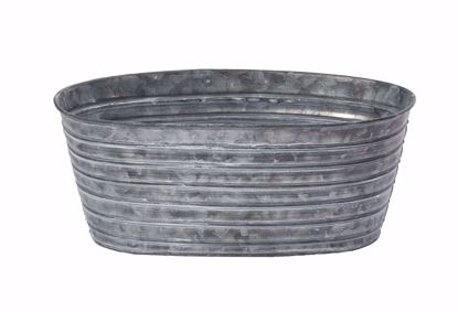 """Picture of 10"""" Oval Tin Pot Galvanized"""