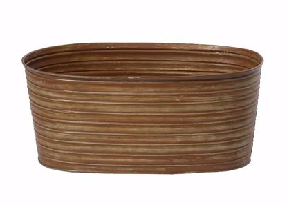 """Picture of 12"""" Oval Tin Pot Rust"""