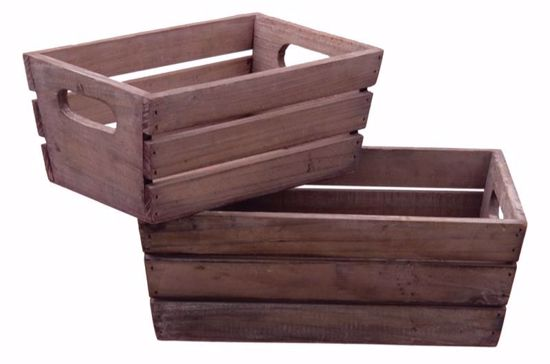 Picture of S/2 Rectangular Wooden Planters