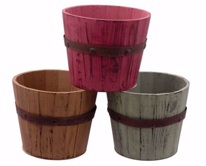 Picture of 3 Asst Wooden Barrel Planters