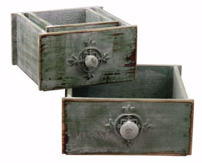 Picture of Rustic Wooden Drawer Planter - Set Of 3