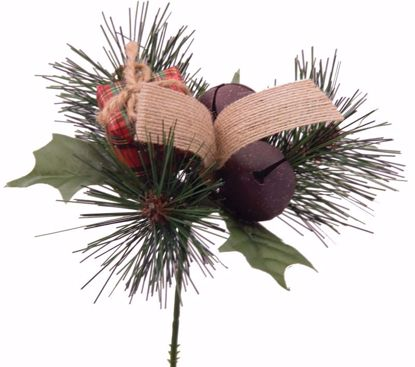"""Picture of Holiday Pine Holly Gift Box Pick (7.5"""")"""