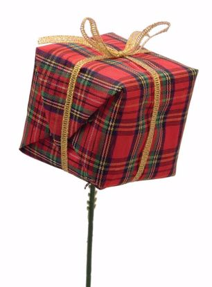 """Picture of Holiday Red Tartan Gift Box Pick (7.5"""")"""