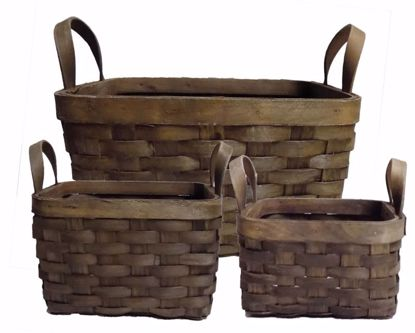 Picture of Chipwood Basket Set of 3 -Dark Stain, Square