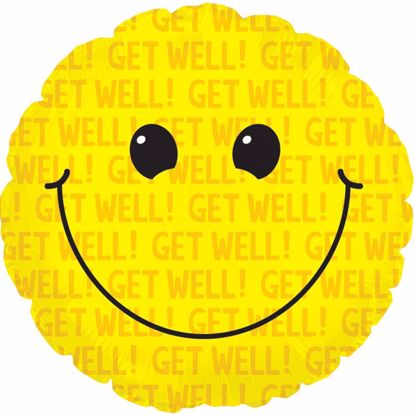 "Picture of 17"" 2-Sided Foil Balloon: Get Well Smiley"