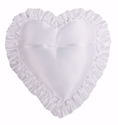 Picture of White Heart Shaped Ring Pillow w/Ribbon Ruffle Edge