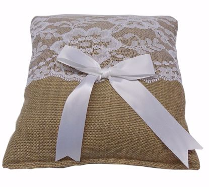 Picture of Burlap Square Ring Pillow w/Lace