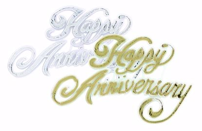 """Picture of 4"""" Happy Anniversary Pick (Assorted Gold & Silver)"""