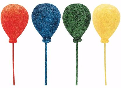 "Picture of 2"" Glittered Primary Colors Foam Balloons Pick (Assorted)"