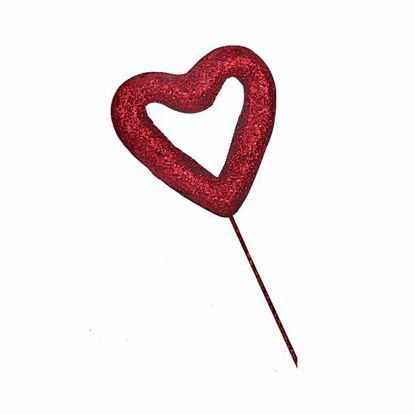 "Picture of 3.1"" Red Glitter Open Heart Pick"