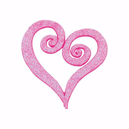 "Picture of 4"" Pink Glittered Swirl Heart Pick"