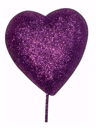 "Picture of 2.25"" Purple Foam Heart Pick"