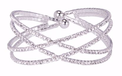 Picture of Atlantic Silver Channel Set Crystal Cuff Crossover