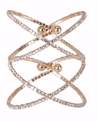 Picture of Atlantic Gold Channel Set Crystal Cuff Double Crossover