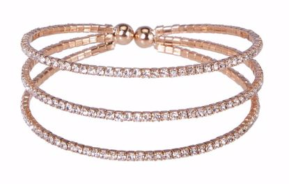 Picture of Atlantic Gold Channel Set Crystal Cuff Triple Strand
