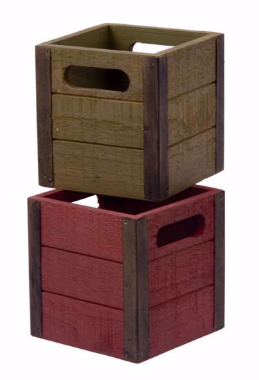 Picture of 2 Asst Square Wooden Planter