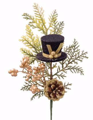 """Picture of Holiday Top Hat Gold Berry Cedar Pick (14"""")"""