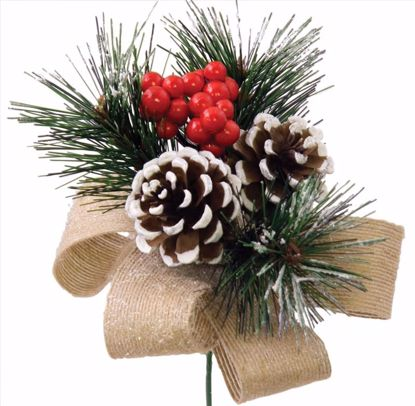 """Picture of Holiday Red Berry Pine Pick (8"""")"""