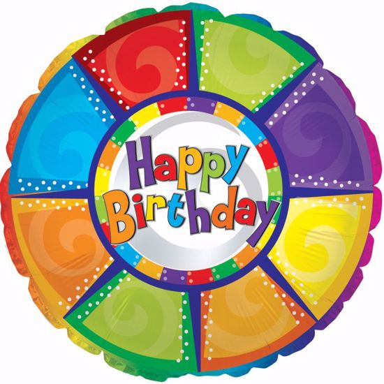 """Picture of 17"""" 2-Sided Foil Balloon: Happy Birthday Colorful Pieces"""