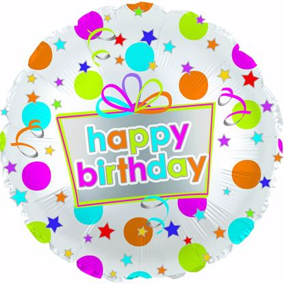"""Picture of 17"""" 2-Sided Foil Balloon: Happy Birthday Dots"""
