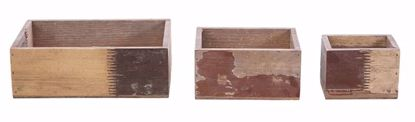 Picture of Set 3 Rustic Multi Color Wood Cube