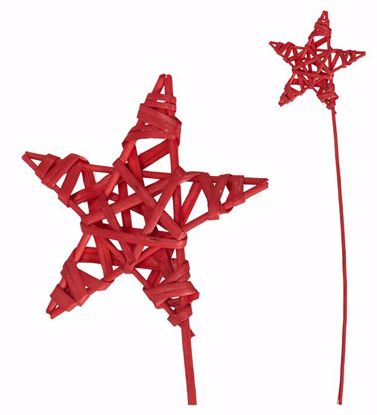 """Picture of 5.5"""" Red Wicker Star Pick"""