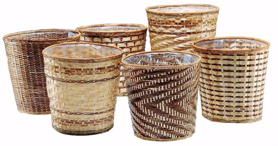 "Picture of 12"" Bamboo Pot Cover Basket - Assorted Weaves"