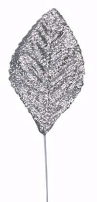 "Picture of 2.25""  Glitter Corsage Leaves - Silver"