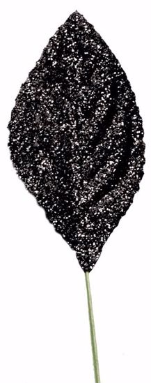 """Picture of 2.25""""  Glitter Corsage Leaves - Black"""