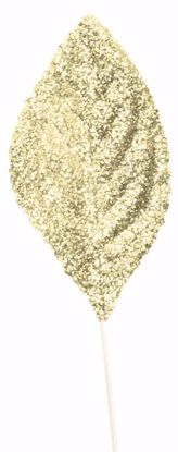 "Picture of 2.25"" Glitter Corsage Leaves - Gold"