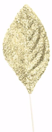 """Picture of 2.25"""" Glitter Corsage Leaves - Gold"""