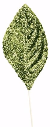 """Picture of 2.25"""" Glitter Corsage Leaves - Green"""