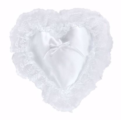 Picture of White Heart Shaped Ring Pillow w/Lace Edge
