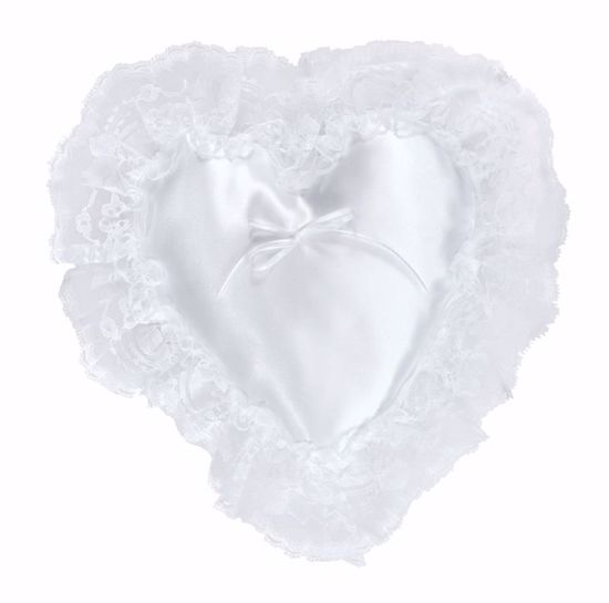 Picture of White Heart Pillow with Lace Edge
