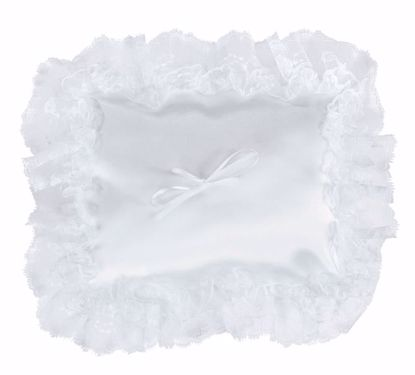 Picture of White Square Shaped Ring Pillow w/Lace Edge