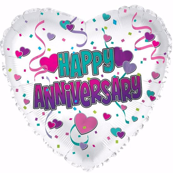 "Picture of 17"" 2-Sided Foil Balloon: Happy Anniversary Hearts"