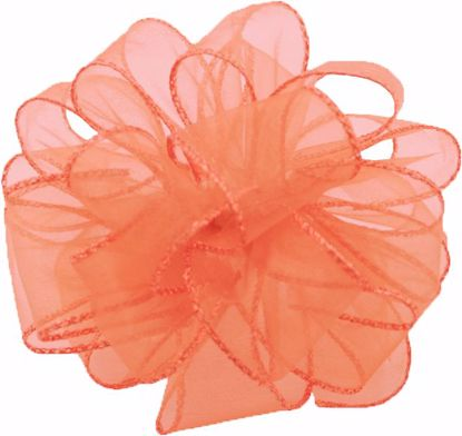 Picture of #9 Deluxe Sheer Wired Ribbon - Coral