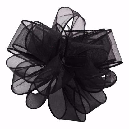 Picture of #9 Deluxe Sheer Wired Ribbon - Black