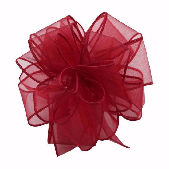 Picture of #9 Deluxe Sheer Wired Ribbon - Burgundy